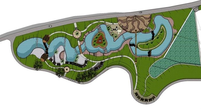 大型水系景观市民活动休闲公园景观设计su模型[原创]