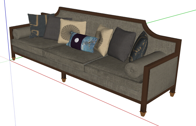 新中式多人沙发素材su模型[原创]
