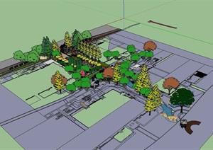 欧式风格住宅小区景观SU(草图大师)模型