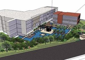 现代风格酒店详细景观设计SU(草图大师)模型