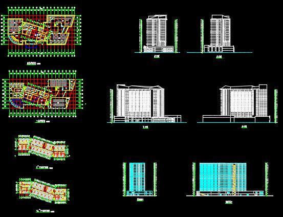 二十一层酒店建筑方案图(含CAD图+PSD效果图+su模型+排版JPG)-约53400平(2)