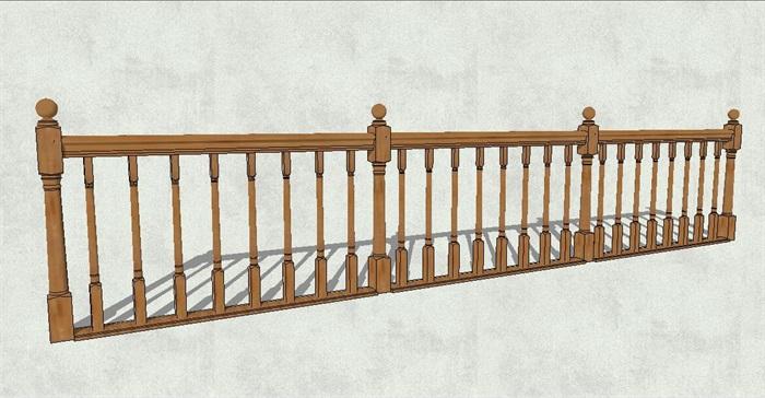 欧式风格详细木质栏杆设计su模型[原创]