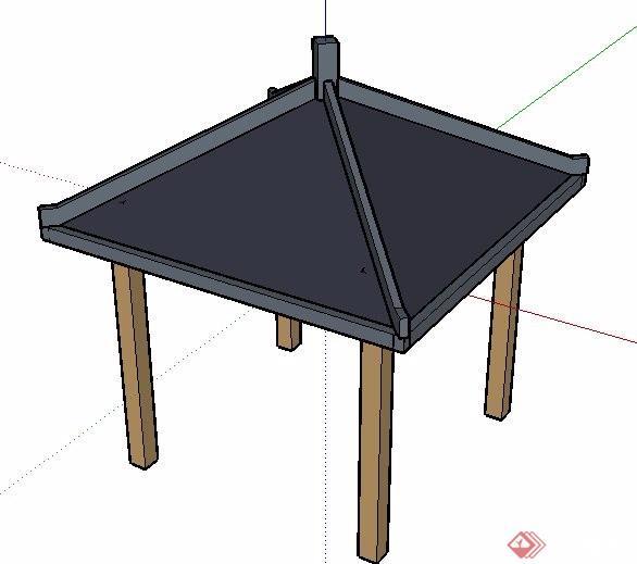 简约中式凉亭单体素材su模型[原创]