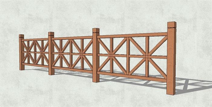 木质栏杆设计素材su模型[原创]