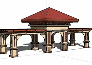 新古典风格景观亭廊设计SU(草图大师)模型