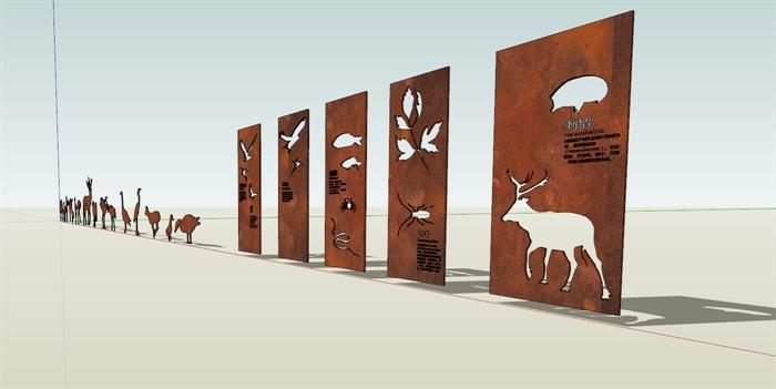 金属板动物剪影创意雕塑小品素材su模型[原创]