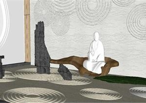 现代中式景园艺小品景观设计SU(草图大师)模型