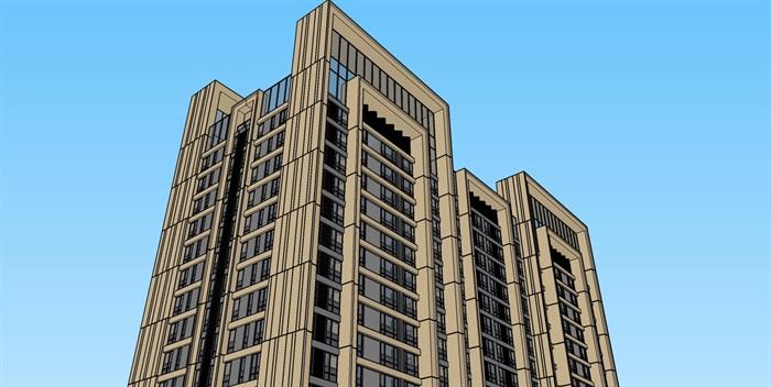新�9an:�9�k�f�x�_某新古典风格高层公寓住宅楼su模型[原创]