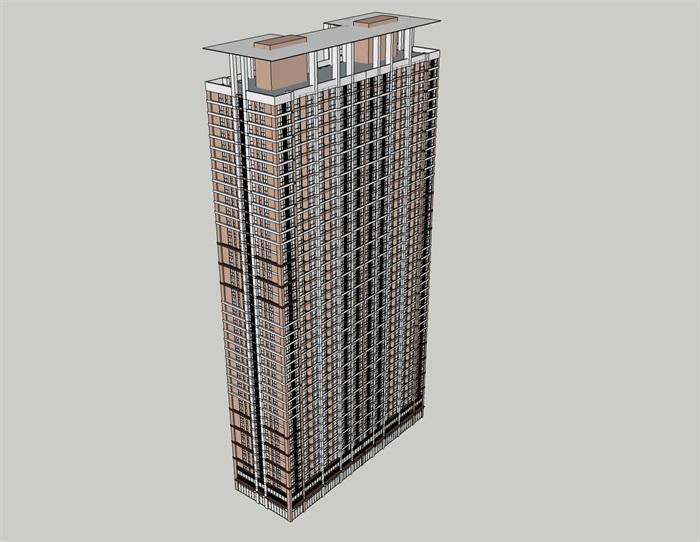 現代高層公寓住宅樓設計su模型[原創]