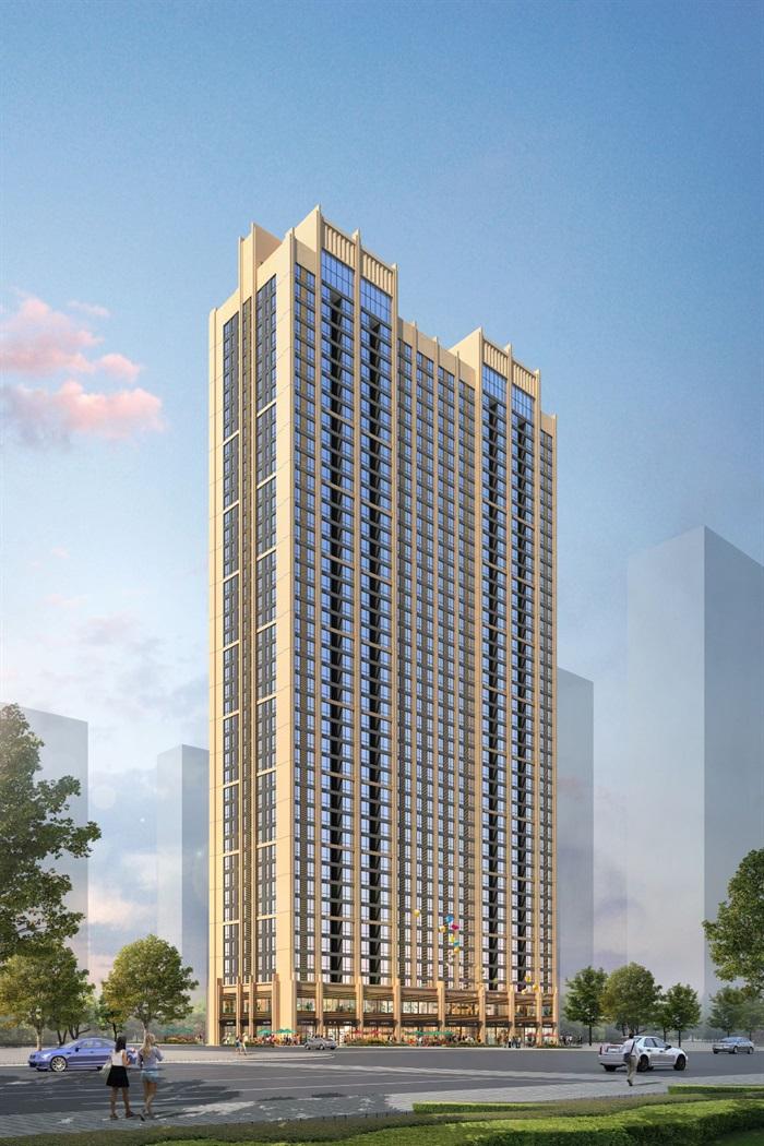 现代独栋高层公寓住宅建筑设计su模型[原创]