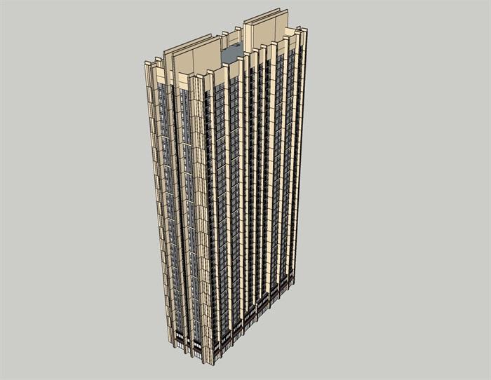 現代獨棟高層公寓住宅建筑設計su模型[原創]