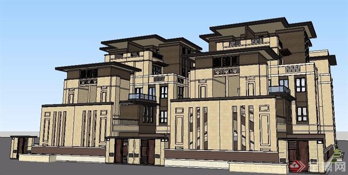 美式风格叠拼别墅建筑设计su模型[原创]
