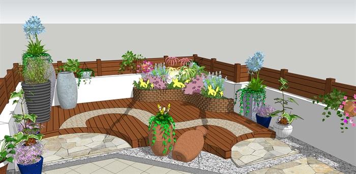 某屋顶小花园方案su模型效果图[原创]