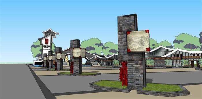 中式景區入口商業大門詳細su模型設計(2)