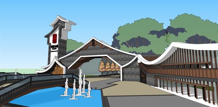 中式景區入口商業大門詳細su模型設計(4)