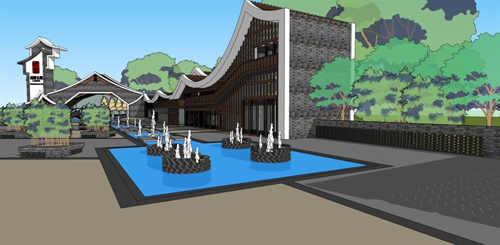 中式景區入口商業大門詳細su模型設計(5)