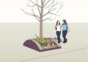 园林景观树池SU(草图大师)模型