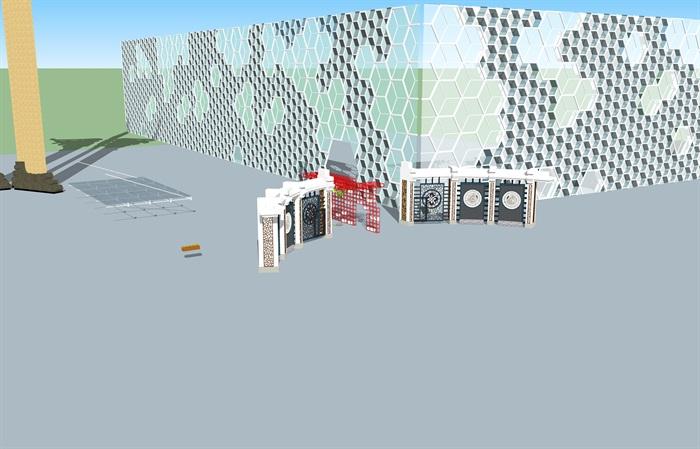 景观墙,玻璃景观外墙,围栏花架素材设计su模型[原创]