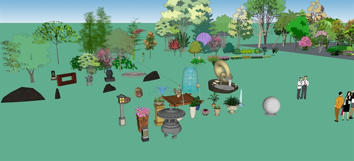 现代多种不同的园林景观小品素材su模型