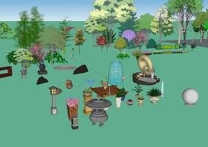 现代多种不同的园林景观小品素材SU(草图大师)模型