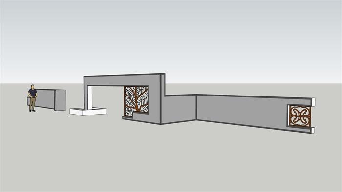 详细中式景墙v图纸su图纸2017版本含cad、pdfcad里边不了改字模型的图片