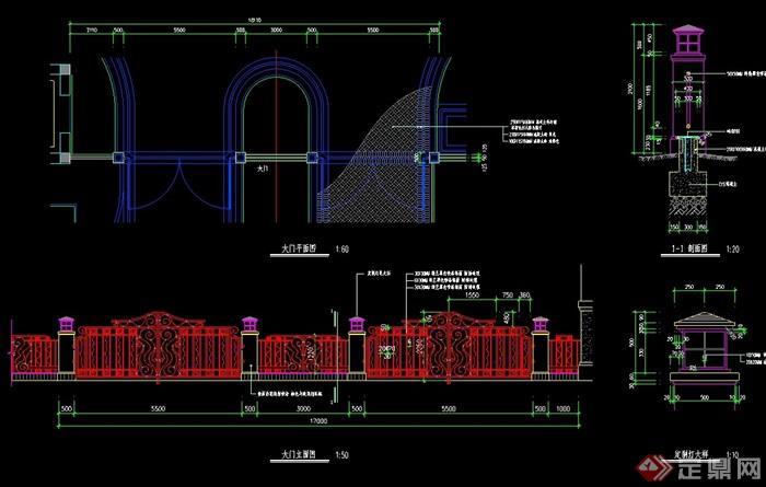 欧式风格详细的铁艺大门设计cad方案[原创]