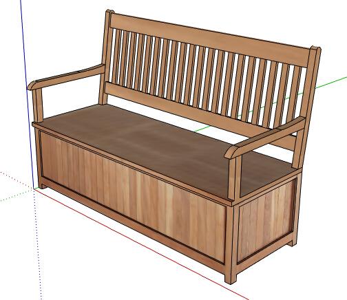 某现代中式木质座椅素材设计su模型[原创]