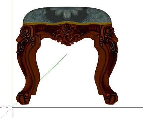 某室内欧式风格坐凳设计su模型[原创]