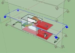 建筑楼梯示意SU(草图大师)模型