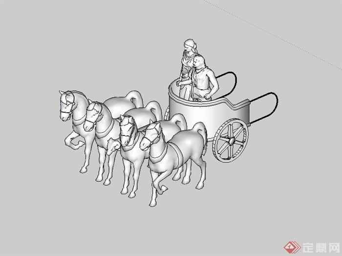 某独特详细的马车马雕塑su模型[原创]