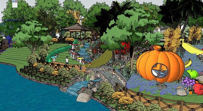 儿童游乐公园景观设计su模型[原创]