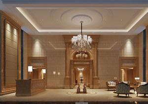 欧式风格电梯厅设计cad施工及效果图