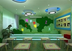 现代幼儿园教室设计3d模型