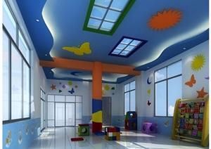 现代幼儿园教室设计3d模型及效果图