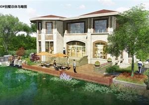 翡翠园3别墅总体设计psd鸟瞰图