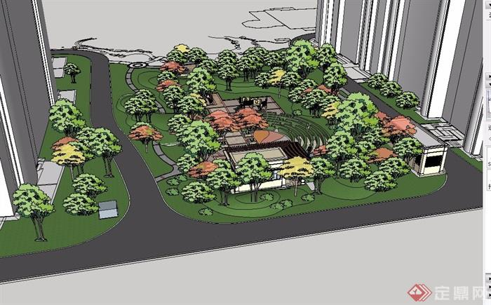 山明水清西段组团住宅景观设计su模型[原创]