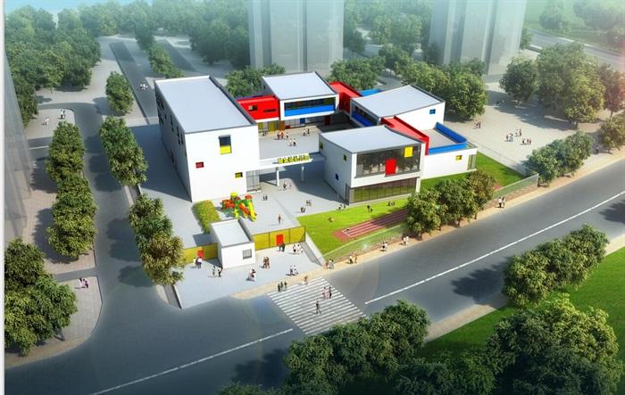 现代九班幼儿园建筑设计cad方案加效果图[原创]