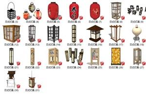 日式风格石灯室内木灯具设计SU(草图大师)模型