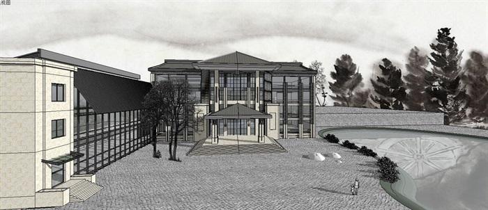 新中式坡屋顶小型多层办公楼建筑su模型
