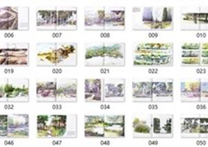 景观考研手绘马克水彩作品