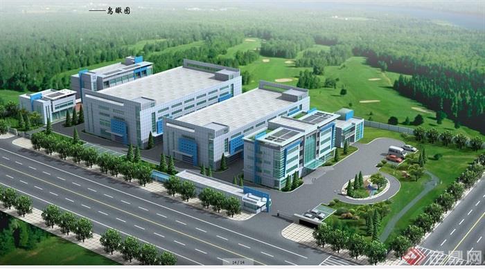 某现代风格工业厂房详细建筑设计cad施工及效果图