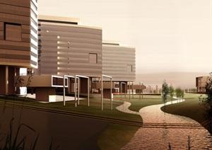 某现代展览馆建筑效果图