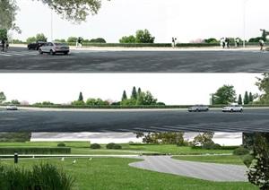 道路绿地景观效果图psd素材