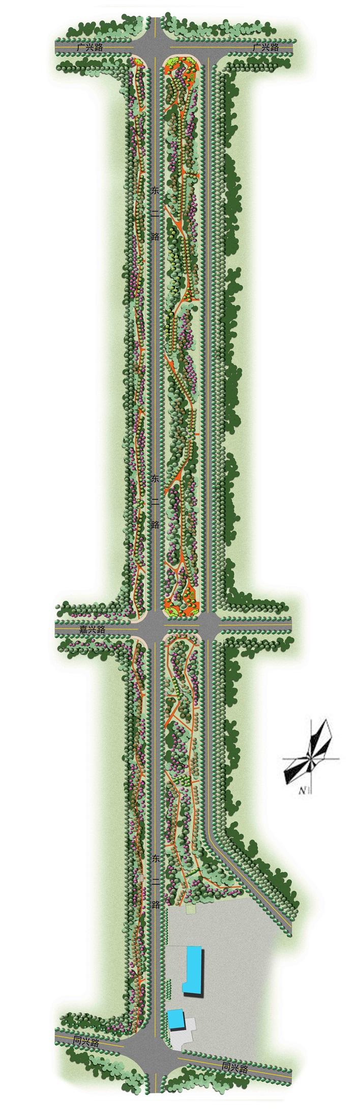 某主干道道路两侧绿化方案