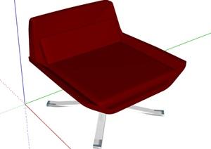 某简约风红色座椅设计SU(草图大师)模型