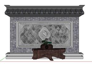 中式照壁景墙及现代座椅素材SU(草图大师)模型