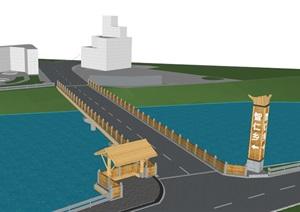 现代中式跨水桥梁设计SU(草图大师)模型