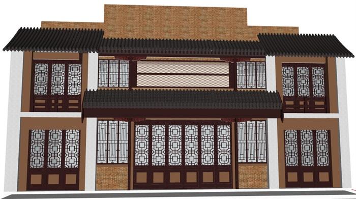 现代中式茶馆茶楼建筑设计su模型[原创]