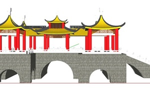 古典中式风格亭廊桥设计SU(草图大师)模型