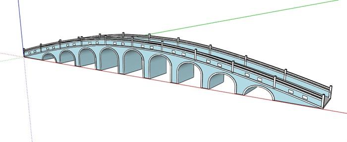 新中式长拱桥设计su模型